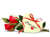 Two red roses with an I Love You note. Vector. — Vettoriale Stock