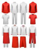 Set of cook clothing - aprons, uniforms. Vector. — Stock Vector