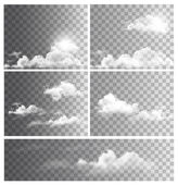 Set of backgrounds with transparent different clouds. Vector. — Stock Vector