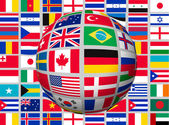 Globe on a background with flags of the world. Vector. — Stock Vector