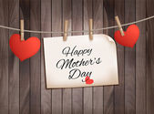 Retro holiday mother day background with red paper hearts on woo — ストックベクタ