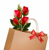 Holiday Background With Paper Shopping Bag with Bouquet Of Red R — ストックベクタ