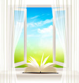 Background with an open window and open book. Vector. — Stockvektor