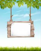 Natural background with leaves and a wooden sign. Vector. — Stock Vector