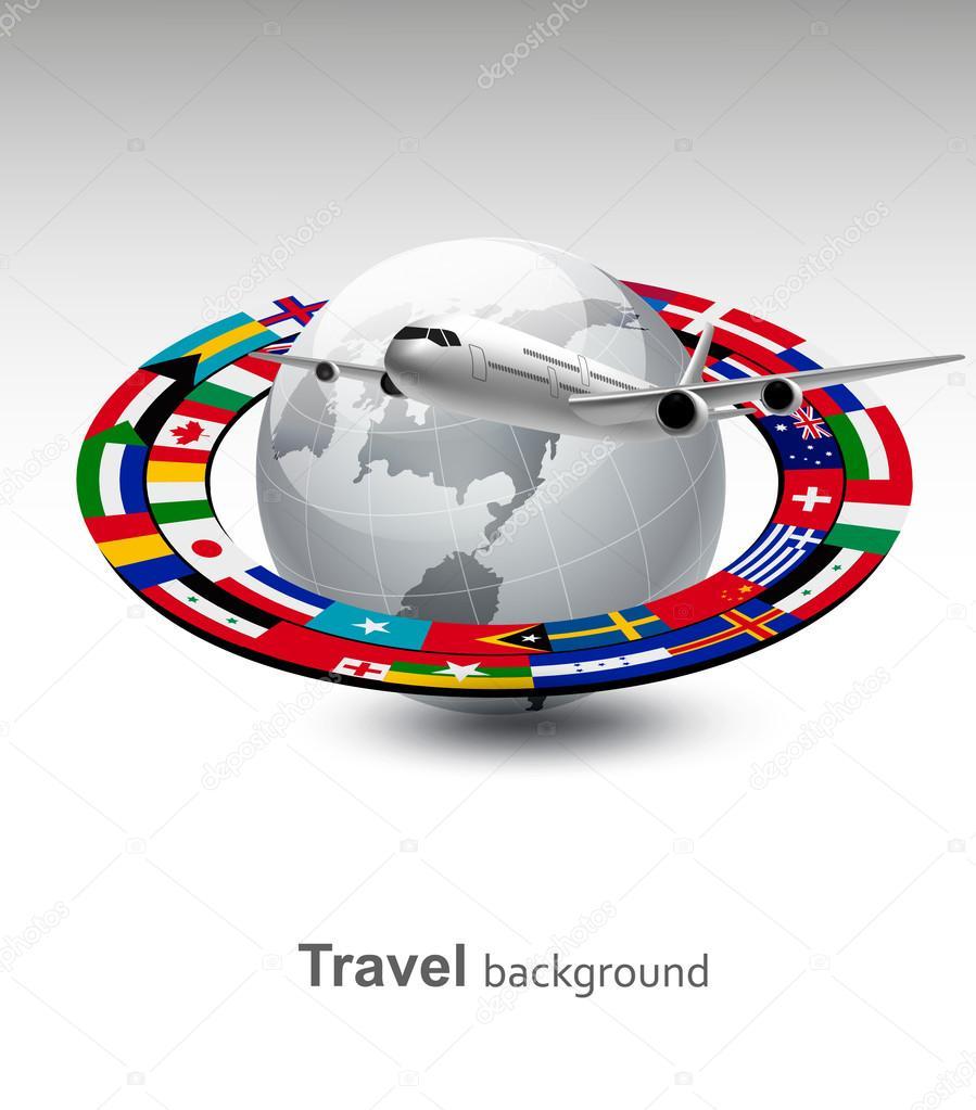 Antecedentes de viaje mundo con un avi n y una franja de banderas vect archivo im genes - Banera de viaje ...