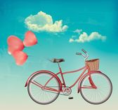 Retro bicycle with red heart shaped balloons. Vector. — Stock Vector