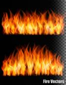 Two banners with fire on black background. Vector. — Stock Vector