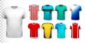 Set of colorful soccer jerseys. The T-shirt is transparent and c — Stock Vector