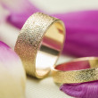 Two stylish textured gold wedding rings — Stock Photo #63587623