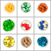 Collage with different types of pills — Foto de Stock