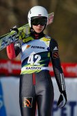 Unknown ski jumper competes in the FIS Si Jumping World Cup Ladies — Foto Stock