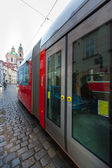 Famous red tram in Prague — Stock Photo