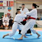 Contestants participating in the European Karate Championship — Stock Photo