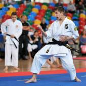 Contestants participating in the Contestants participating in the European Karate Championship Fudokan 2014 — Stock Photo