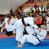 Contestants participating in the European Karate Championship Fudokan 2014 — Stock Photo