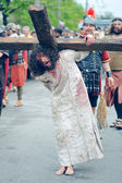 Staging of Jesus road on the mountain Calavary — Stock Photo