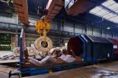 Rolls of steel sheet inside of plant, Cold rolled steel coils — Foto de Stock
