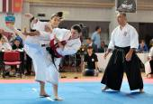 Contestants participating in the European Karate Championship Fudokan — Stock Photo
