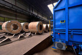 Rolls of steel sheet inside of plant, Cold rolled steel coils — Stock Photo