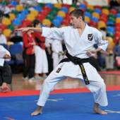 Contestant participating at Karate contest — Stock Photo