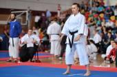 Karate contestants — Stock Photo