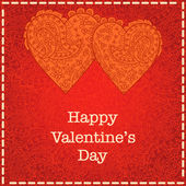 Valentines day card with lace background — Stock Vector