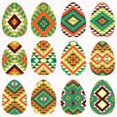 Set of twelve easter eggs — Stock Vector