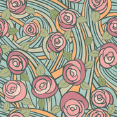 Abstract seamless pattern with vintage roses — Cтоковый вектор