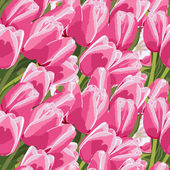Seamless pattern with a pink tulips — Stock Vector
