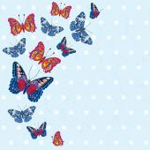 Card with beautiful bright butterflies — Cтоковый вектор