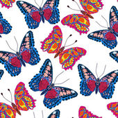Seamless background of butterflies — Stock Vector
