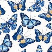 蝶のシームレスな背景 — ストックベクタ