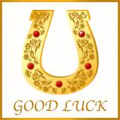 Gold horseshoe for good luck — Stock Vector