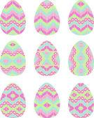 Sada dvanácti velikonoční vajíčka — Stock vektor