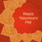 Valentines day card with lace background — Stok Vektör