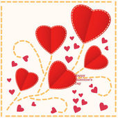 Red hearts Valentines day card — Stock Vector
