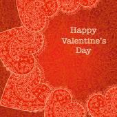 Carte de Saint Valentin avec fond de dentelle — Vecteur