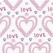 Doodle hearts on  Sketchbook — Stock Vector