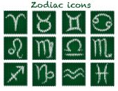 Knitted zodiac set — Stock Vector