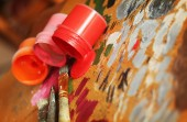 Color paints with brushes — Stock Photo