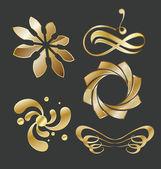 Golden Emblems Set — Cтоковый вектор