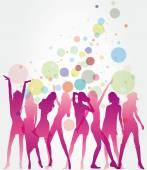 Dancing ladies — Stock Vector