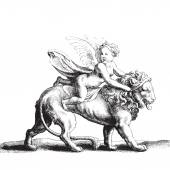 Cupid on a lion — Vetorial Stock