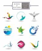 Birds emblem collection — Vector de stock