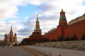 Spasskaya tower and St Basils cathedral Red Square Moscow — Stock Photo