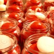 Tasty Tomatoes with onion Canned In Glass Jars — Stock Photo #60400741