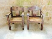 Armchairs in church-abbey of Mont Saint Michel — Stock Photo