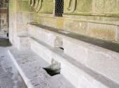 Stone seats in abbey Mont Saint Michel — Stock Photo