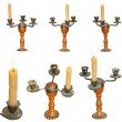 Set of candleholder with candles isolated — Stock Photo #53055551