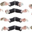 Set of banknotes in businessman hands — Stock Photo #53056503